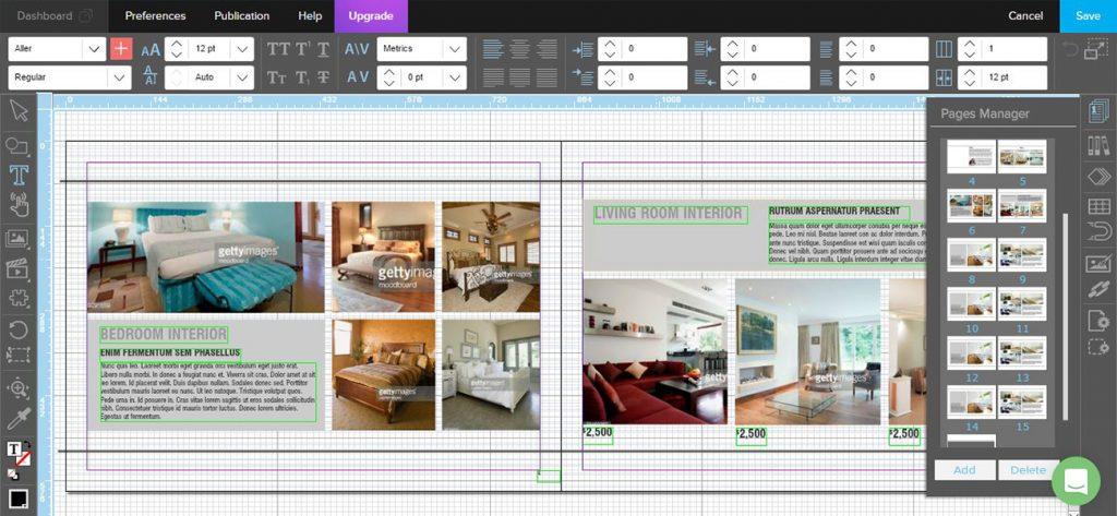 Screenshot aus Joomag, DTP-Programm für Online-Magazine