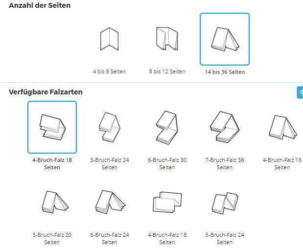 Die Benutzeroberfläche zur Erstellung von Faltblättern auf der Website von Pixartprinting