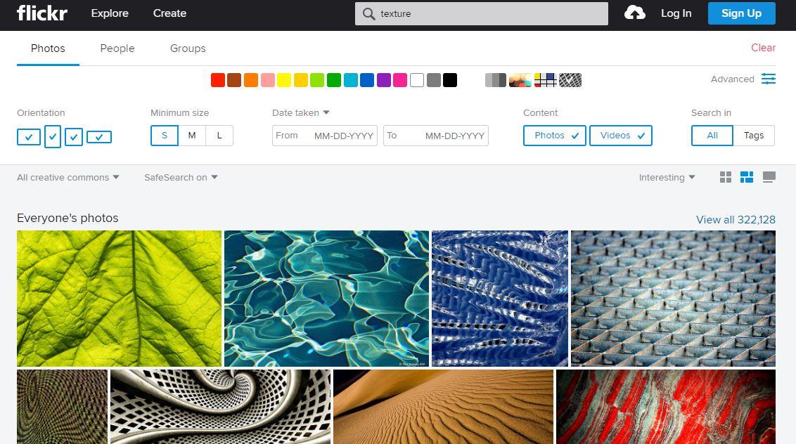 Suchmaske für kostenlose Fotos auf Flickr