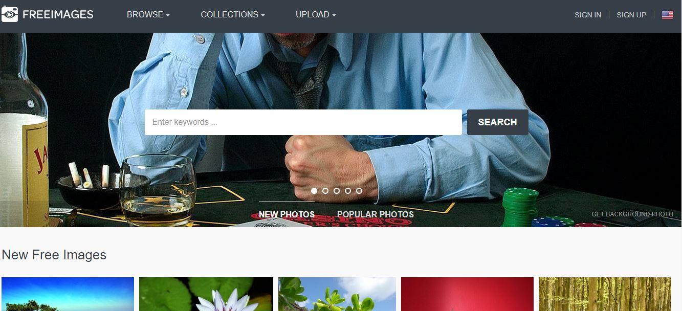Die Startseite der kostenlosen Foto-Download-Seite Freeimages